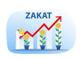 muçulmanos segurando uma bolsa de dinheiro para pagar zakat com vetor de ilustrador de conceito de alvo de doação de crescimento zakat