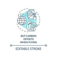 comprar compensações de carbono ao voar ícone do conceito vetor