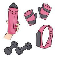 conjunto de acessórios de fitness em estilo cartoon. ilustração vetorial isolada em um fundo branco. vetor