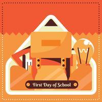 Primeiro dia de desenho vetorial de escola vetor
