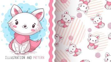 adorável personagem de desenho animado gato animal - padrão sem emenda vetor