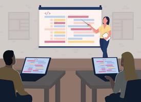 ilustração em vetor cor plana aula curso de programação