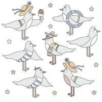 conjunto de aves marinhas - gaivotas. Personagens fofinhos engraçados - um menino com um colete e uma bandana com uma bóia salva-vidas marinha e uma menina com um sorvete. vetor. isolado em fundo branco vetor