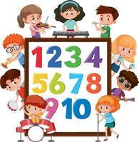 número 0 a 9 no banner com muitas crianças fazendo atividades diferentes vetor