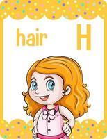 cartão do alfabeto com letra h para cabelo vetor