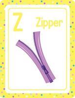 cartão flash do alfabeto com a letra z para zíper vetor