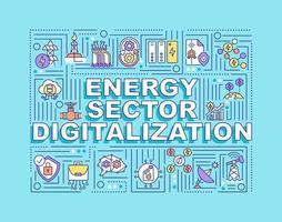 Banner de conceitos de palavras de digitalização do setor de energia vetor