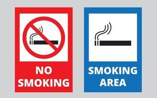 placa de proibição de fumar e área para fumantes vetor