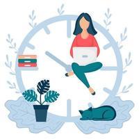 mulher feliz sentada nas setas do relógio e trabalhando em seu laptop vetor