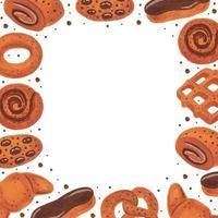 design de cartão de padaria com moldura. boulangerie. pretzel, donut, croissant, bagel, rolo, éclair, waffle, cookies. comida em aquarela. vetor