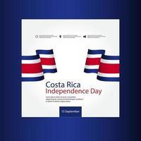 ilustração de design de modelo vetorial do dia da independência da costa rica vetor