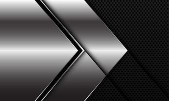 abstrato prata linha preta direção da seta no círculo preto malha padrão design moderno luxo futurista ilustração vetorial de fundo. vetor