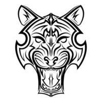 arte de linha preto e branco da cabeça do tigre. bom uso de símbolo, mascote, ícone, avatar, tatuagem, design de camiseta, logotipo ou qualquer design que você quiser. vetor