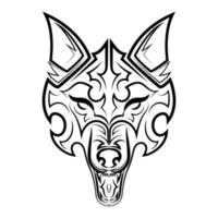 arte de linha preto e branco da cabeça de lobo. bom uso de símbolo, mascote, ícone, avatar, tatuagem, design de camiseta, logotipo ou qualquer design que você deseja. vetor