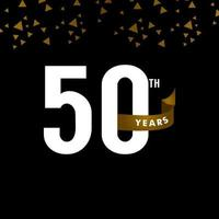Número do aniversário de 50 anos com ilustração de design de modelo de vetor de celebração de fita dourada