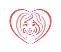 rosto de menina - logotipo de vetor na forma de um coração. retrato de uma jovem mulher bonita para um salão de beleza, indústria da beleza. penteado, maquiagem, cosmetologia