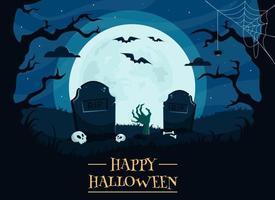 feliz dia das bruxas fundo com cemitério, caveiras, lua cheia, mão de zumbi, árvores, morcegos. vetor