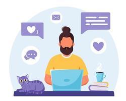 homem trabalhando no laptop. freelance, estudo online, conceito de trabalho remoto. ilustração vetorial vetor