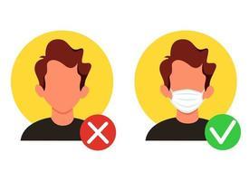 nenhuma entrada sem uma máscara facial. usar máscara facial. certo e errado usando uma máscara. ilustração vetorial em um estilo simples. vetor