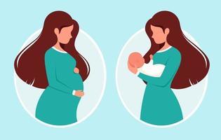 mulher grávida. mulher com recém-nascido. gravidez, conceito de maternidade. ilustração vetorial. vetor