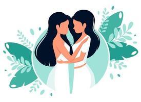 conceito de casamento LGBT. casal de lésbicas. ilustração vetorial em estilo simples. vetor