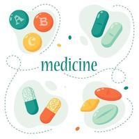 conjunto de comprimidos. conceito de medicina e produtos farmacêuticos. comprimidos multicoloridos. ilustração vetorial em um estilo simples. vetor