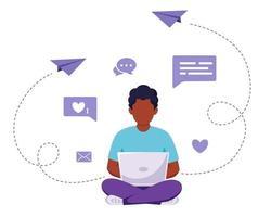 homem afro-americano sentado com o laptop. freelance, estudo online, conceito de trabalho remoto. ilustração vetorial vetor