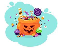 feliz Dia das Bruxas. abóbora com doces e doces assustadores. ilustração vetorial em estilo simples. vetor