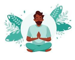 homem negro meditando. estilo de vida saudável, ioga, meditação, relaxamento, recreação. ilustração vetorial. vetor