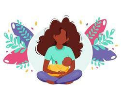 mulher negra segurando o bebê. conceito de maternidade. dia das Mães. ilustração vetorial em estilo simples. vetor