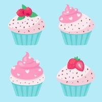 cupcakes do dia dos namorados. ilustração vetorial vetor