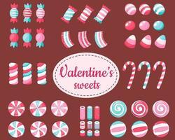 feliz Dia dos namorados. grande conjunto de doces e balas do dia dos namorados. ilustração vetorial. vetor