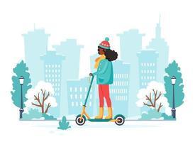 mulher negra andando de scooter de chute elétrico no inverno. conceito de transporte ecológico. ilustração vetorial vetor