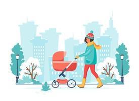 mulher andando com um carrinho de bebê no inverno. atividade ao ar livre. ilustração vetorial. vetor