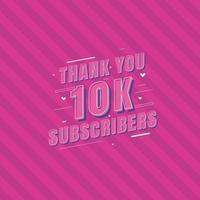 obrigado celebração de 10.000 assinantes, cartão de felicitações para 10.000 assinantes sociais. vetor