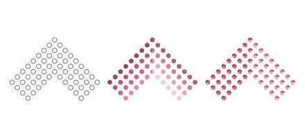 setas poligonais, planas e de contorno definidas isoladas em um fundo branco vetor
