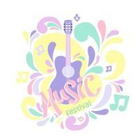 ilustração em cores pastel com violão e letras de mão. ótimo elemento para festival de música vetor