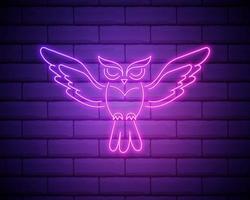 coruja, pássaro, ícone de contorno de educação em estilo neon. elementos de ícone de linha de ilustração de educação. sinais, símbolos podem ser usados para web, logotipo, aplicativo móvel, ui, ux isolado na parede de tijolos vetor