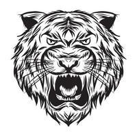 ilustração vetorial cabeça de tigre preto e branco vetor