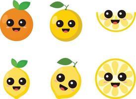 Conjunto de vetores design plano de mascote laranja
