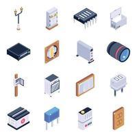 conjunto de ícones isométricos de componentes elétricos vetor