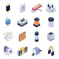 conjunto de ícones isométricos de componentes de energia vetor