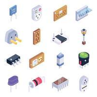 conjunto de ícones isométricos de itens elétricos vetor