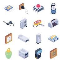 conjunto de ícones isométricos de instrumentos de tecnologia vetor