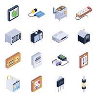 conjunto de ícones isométricos de objetos eletrônicos vetor
