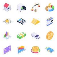 conjunto de ícones isométricos de análise de negócios vetor