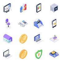 máquina bancária e conjunto de ícones isométricos de infográficos móveis vetor