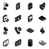conjunto de ícones isométricos sociais e multimídia vetor