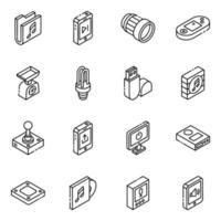 aplicativos móveis e conjunto de ícones isométricos de armazenamento de dados vetor