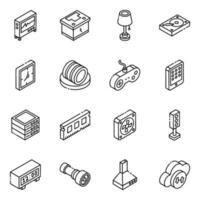 conjunto de ícones isométricos de componentes eletrônicos e multimídia vetor